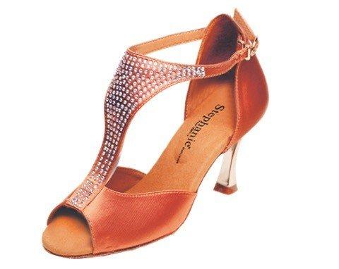 "GOGO / Stephanie Dance Shoes 2085-45-Ballroom Shoes 2.5"" Suede Sol-DARK TAN"