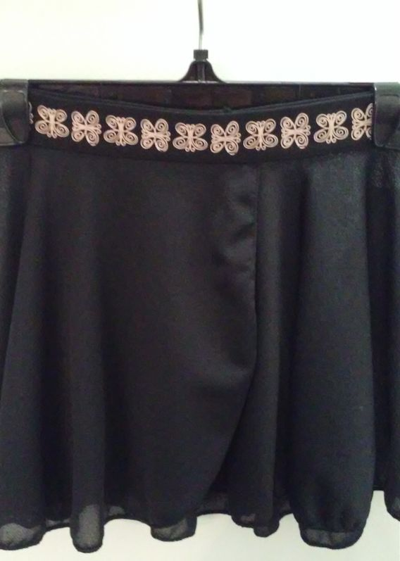 MotionWear 1094-Plush elastic pull-on warp skirt Butterfly-BLACK
