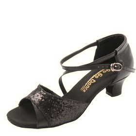 GOGO / Stephanie Dance Shoes GO7210-Ballroom Shoes 1.3'' Suede Sole-BLACK LEATHER SPARKLE