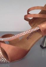 GOGO / Stephanie Dance Shoes 2091-45-Ballroom Shoes 2.5'' Suede Sole-SATIN DARK TAN