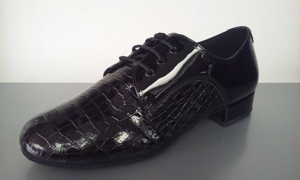 "GOGO / Stephanie Dance Shoes E6016-Men Ballroom Shoes 1"" Suede Sole-BLACK/PATENT"