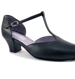 "Merlet EVA-Ballroom Shoes 1.7"" Suede Sole Metis Leather-BLACK"