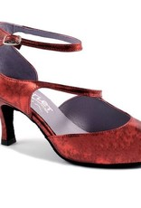 Merlet SYGNE-Ballroom Shoes 2.5'' Suede Sole Specchio Antic Leather-RED