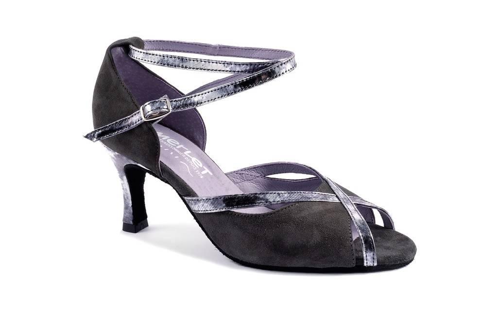 Merlet SIKITA-Ballroom Shoes 2.5''Suede Sole Velvet Leather-GREY