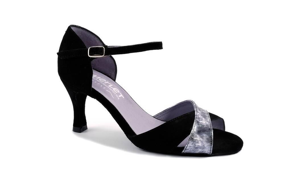 Merlet SILOE-Ballroom Shoes 2.5'' Suede Sole Velvet Leather-BLK/SLV