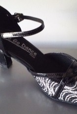 "GOGO / Stephanie Dance Shoes GO1003-Ballroom Shoes 2.5"" Suede Sole-BLACK/SILVER"
