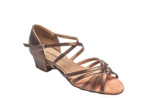 "GOGO / Stephanie Dance Shoes 16003-52X-Ballroom Shoes 1.5"" Suede Sole-BRONZE LEATHER"