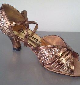 "GOGO / Stephanie Dance Shoes GO1008-Ballroom Shoes 2.5"" Suede Sole-BRONZE GLITTER"