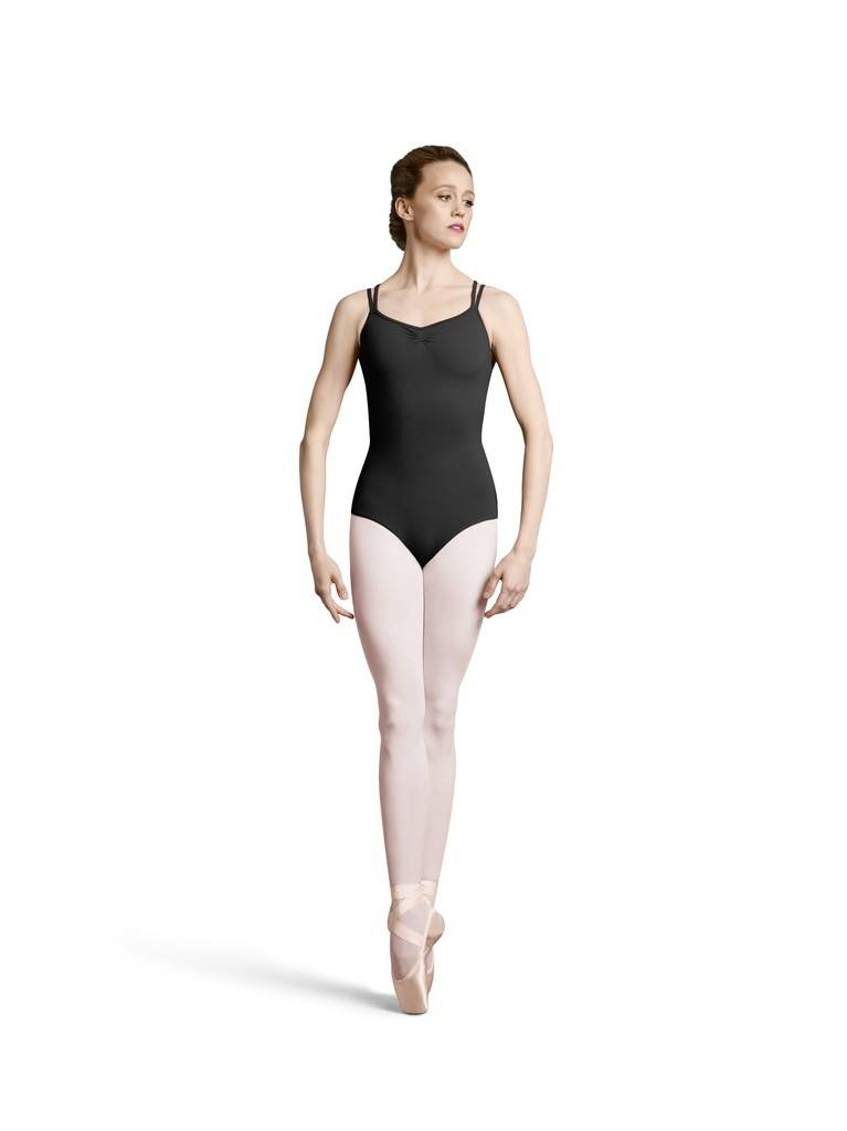 Bloch L8957-Lace-Up Action Back Double Strap Camisole Leotard-BLACK