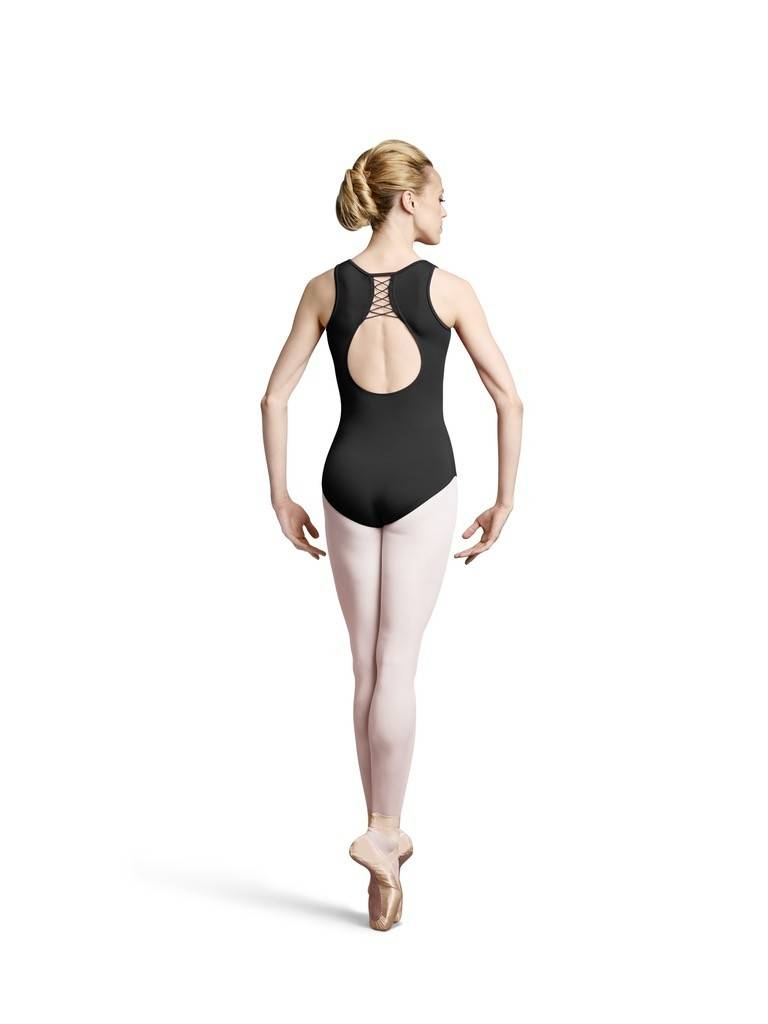 Bloch L8915-Lace-Up Back Opening Tank Leotard-BLACK