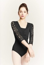 Bloch M7037L-Lace Panel 3/4 Sleeve Mock Warp Top-BLACK