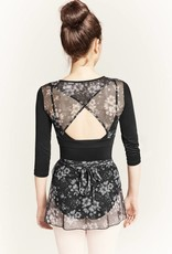 Bloch M7038L-Floral Printed Mesh Warp Back 3/4 Sleeve Top-BLACK
