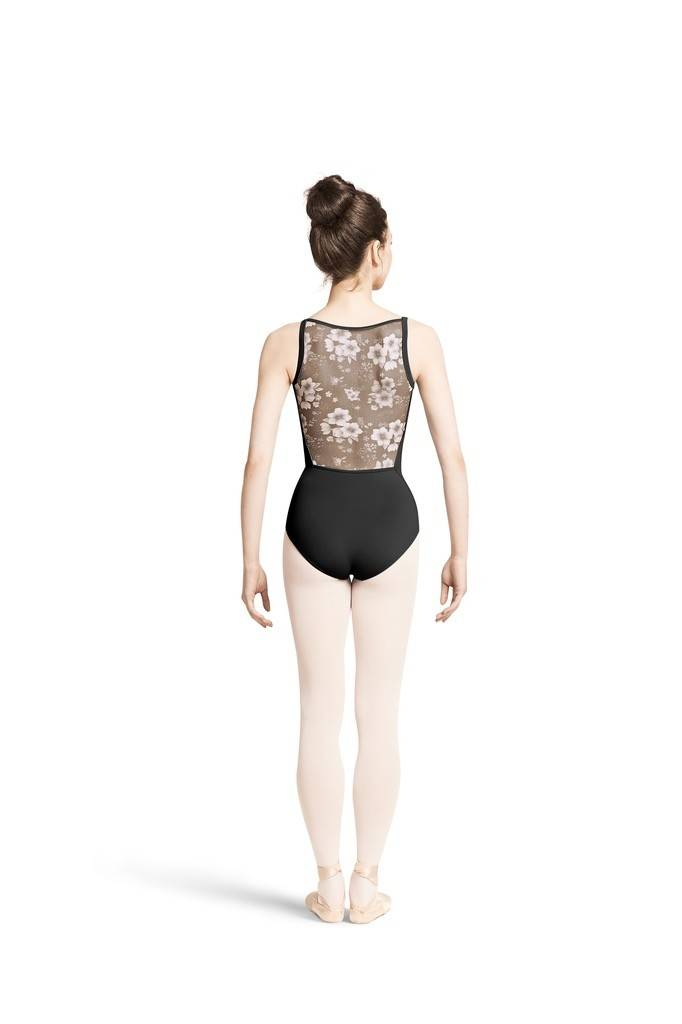 Bloch M2138LM-Printed Mesh Back Wide Strap Camisole Leotard-BLACK