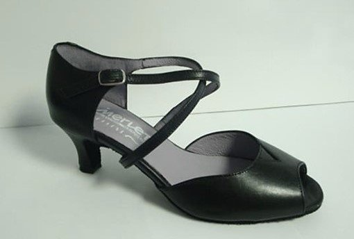 "Merlet DALIA-Ballroom Shoes 2"" Suede Sole Metis Leather-BLACK"