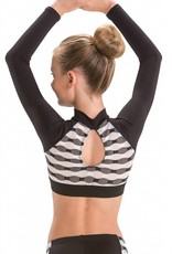 MotionWear 3395-005-Plush Elastic Zip Front Crop Top-BLACK