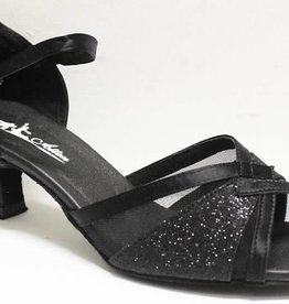 Atten 360-Ballroom Shoes 2''Suede Sole-BLACK SATIN/SHINY