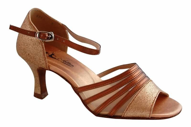 Atten 349-Ballroom Shoes 2.2''Suede Sole-BRONZE/SHINY