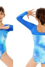 Mondor 17836-Long Sleeve Gym leotard-BLUE TIE-DYE