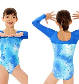 Mondor 17836-Long Sleeve Gym leotard-BLUE TIE-DYE
