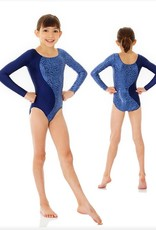 Mondor 17830-Long Sleeve Gym leotard-STEEL BLUE