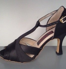 "Natural Spin D13136-Ballroom Shoes 3"" Suede Sole-BLACK  SATIN"
