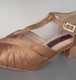 """Natural Spin H1136-26-Ballroom Shoes 1.4"""" Suede Sole-TAN SATIN"""