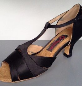 """Natural Spin M13136-Ballroom Shoes 2.15"""" Suede Sole-BLACK SATIN"""