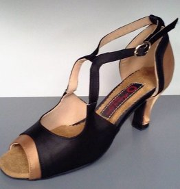 "Natural Spin M1519-Ballroom Shoes 2.15"" Suede Sole-BLK/BRONZE SATIN"