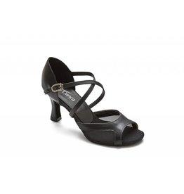 SoDanca BL172-Reba Ballroom Shoes 2.5'' Suede Sole-BLACK LEATHER/MESH