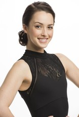 AinslieWear 186KL-Leotard With Kara Lace-BLACK