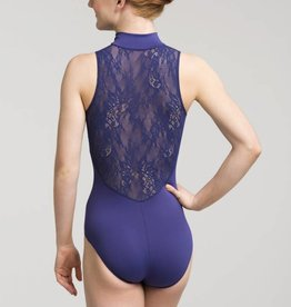 AinslieWear 1062KL-Zip Front Leotard With Kara Lace Back-BLACK