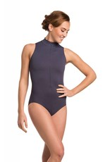 AinslieWear 1062FF-Zip Front Leotard With Flower Print-MISTY PURPLE