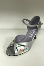 "Merlet SAPHIR-Ballroom Shoes 2.5"" Suede Sole Liquido Leather LIGHT GREY/FLOWER"