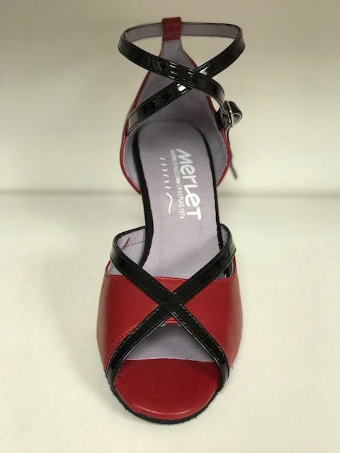 "Merlet SIKITA-Ballroom Shoes 2.5"" Suede Sole Metis leather-CHERRY"