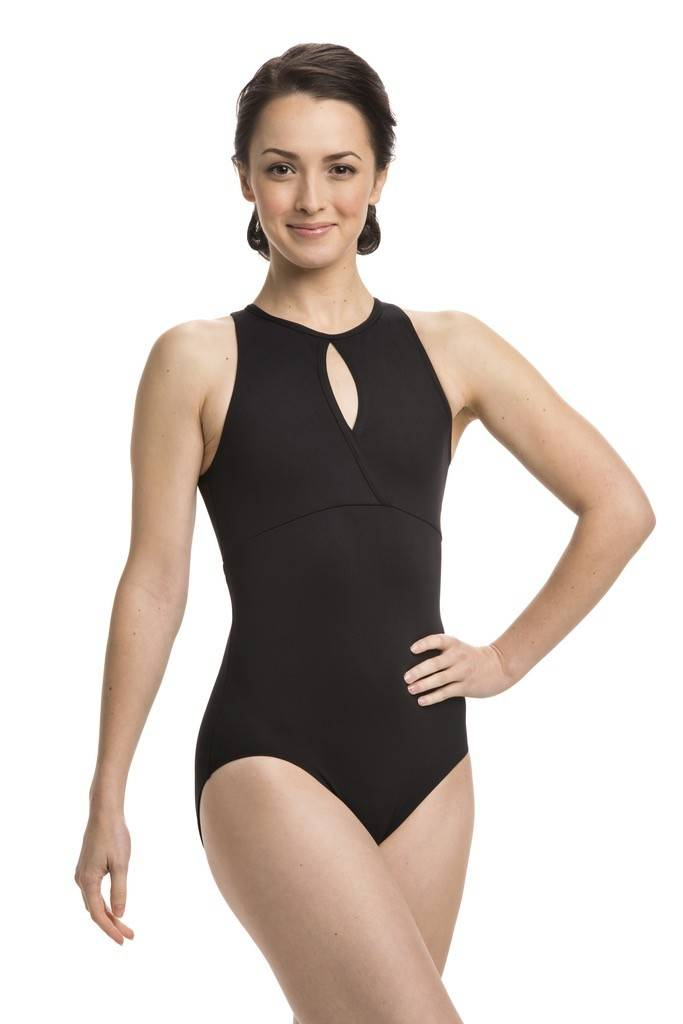 AinslieWear 1004-Leotard with mesh in the back-BLACK-XL
