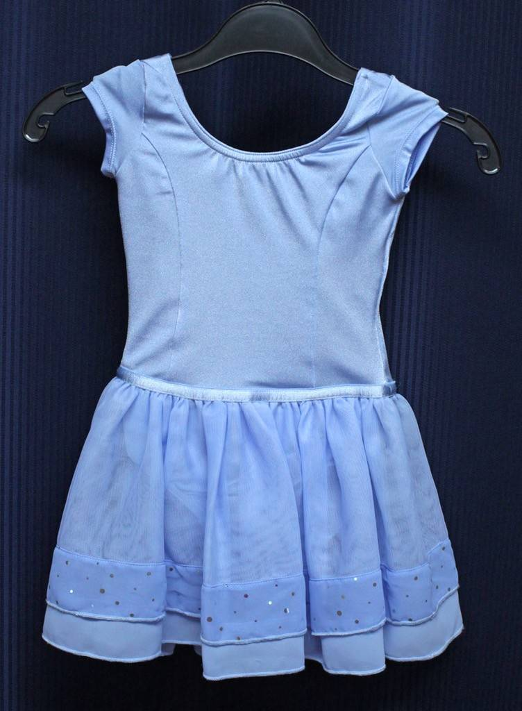 Bloch M1054-Mirella Cap Sleeve Dance Dress-LIGHT BLUE-2-4 CHILD