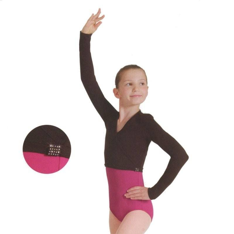 Bloch M701C-Long Sleeve Crop Top-BLACK-6X7 CHILD