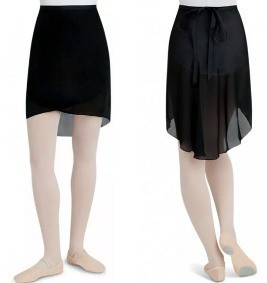 Capezio N276-Georgette Long Wrap Skirt-BLACK-M/L