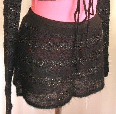 Capezio MNT700-Knit Skirt- BLACK/GOLD-SMALL