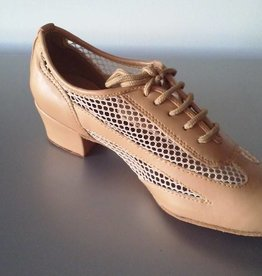 "GOGO / Stephanie Dance Shoes Ballroom Shoes Cuban Hell 1.5"" Suede Sole-TAN LEATHER"