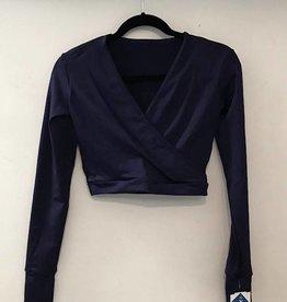 MotionWear 3380-Pullover Wrap Jacket-SILKSKYN-NAVY
