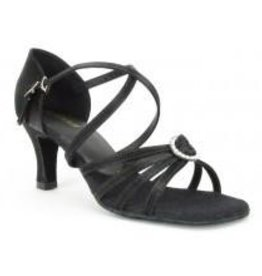 "SoDanca BL130-Ballroom Shoes 2.5"" Suede Sole-BLACK SATIN"
