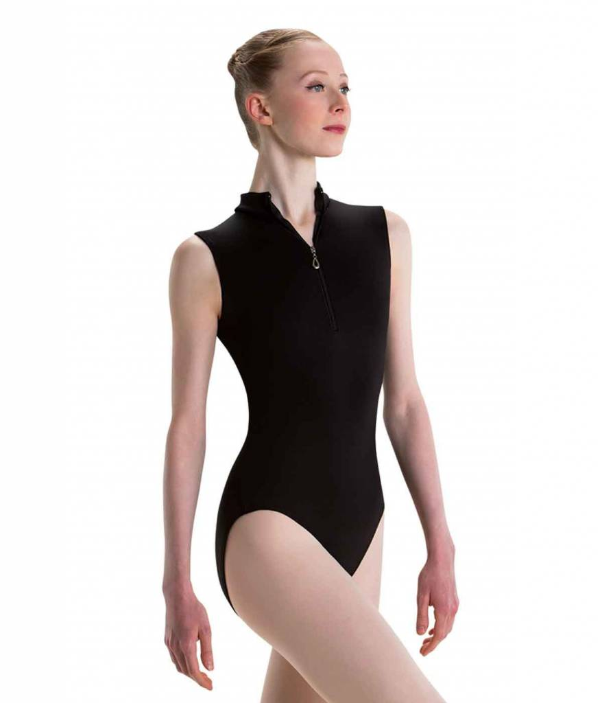 MotionWear 2998- Mock Neck Dimond Leotard-BLACK