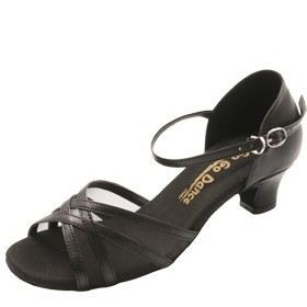 GOGO / Stephanie Dance Shoes GO7230-Ballroom Shoes 1.3'' Suede Sole-BLACK LEATHER MESH