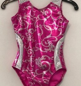 Basic Moves GY5817SS-Gym Tank Metallic Leotard-PINK-6-7