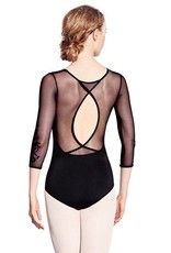 Bloch L8906-Vine Flock 3/4 Sleeve Leotard-BLACK-S