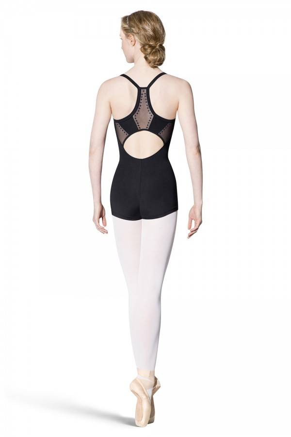 Bloch U8850-Studded Panelled Racer Back Cami Unitard-BLACK