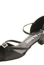 "GOGO / Stephanie Dance Shoes GO7160-Ballroom Shoes 1.3"" Suede Sole-BLACK LEATHER BUCKLE"