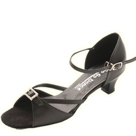 "GOGO / Stephanie Dance Shoes GO7160-Ballroom Shoes 1.3"" Suede Sole-BLACK LEATHER BUCKLE"
