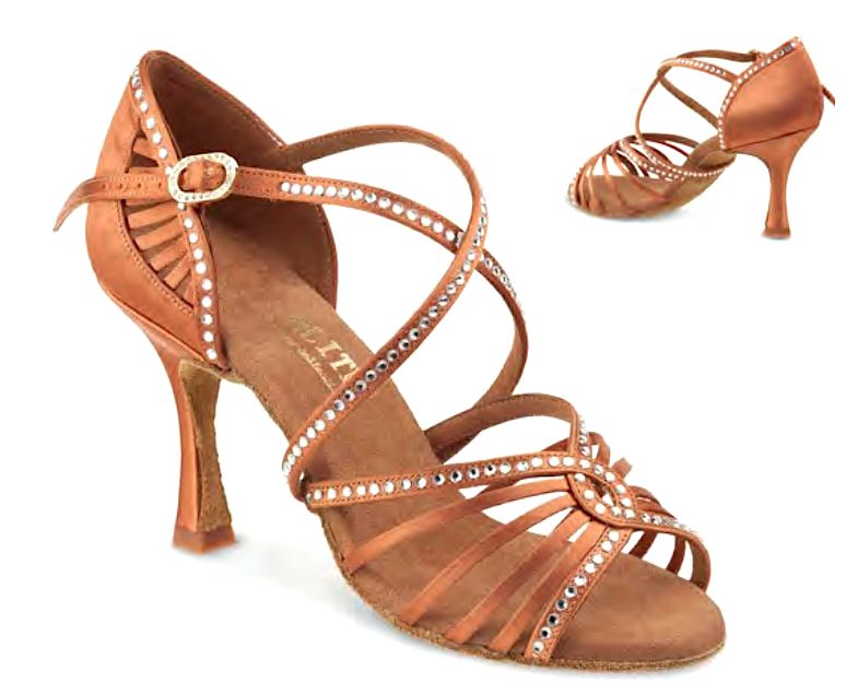 Rummos LUNA-048-70-Ballroom Shoes 3.2'' Suede Sole-DARK TAN SATIN